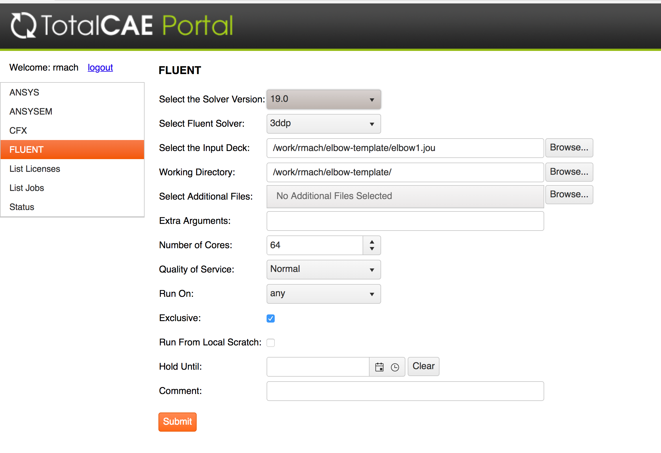 Submit ANSYS Fluent with TotalCAE Portal